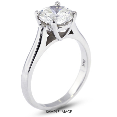 18k White Gold Cathedral Style Solitaire Ring With 2 16 Carat H I1 Round Diamond