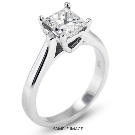 14k White Gold Cathedral Style Solitaire Ring With 2 03 Carat E Si2 Square Radiant Diamond