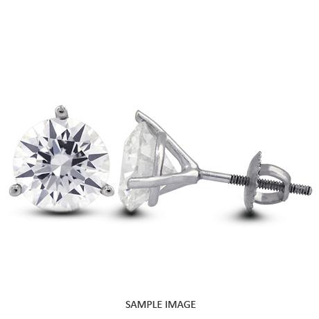 0.66 Carat tw. Round Brilliant Diamond Martini Style Stud Earrings 14k White Gold (E-VS2)