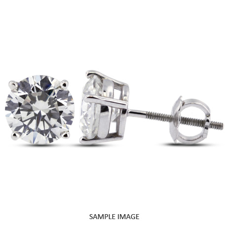 Round Brilliant Diamond Basket Style Stud Earrings 14k White Gold F