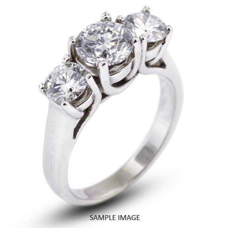 14k White Gold Classic Style Trellis Three-Stone Engagement Rings with 1.90 Total Carat K-I1 Round Diamond