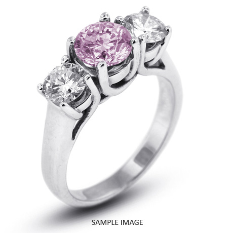 14k White Gold Classic Style Trellis Three Stone Engagement Rings With 350 Total Carat Purple