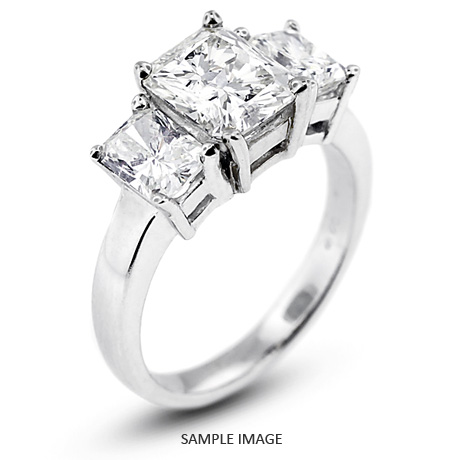 14k White Gold Classic Style Baskets Three Stone Engagement Rings