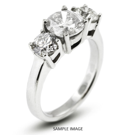 14k White Gold Classic Style Baskets Three-Stone Engagement Rings with 3.10 Total Carat H-I1 Round Diamond