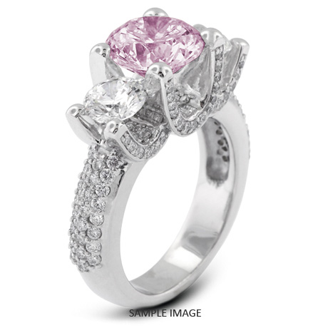 14k White Gold Three Stone Engagement Rings With 526 Total Carat Purple SI3 Round