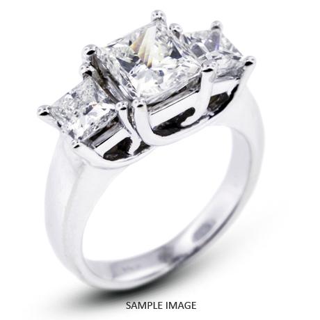 14k White Gold Classic Style Trellis Three-Stone Engagement Rings with 1.80 Total Carat G-I1 Princess Diamond