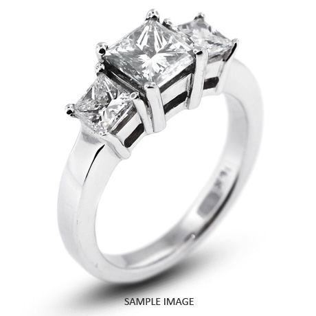 14k White Gold Classic Style Baskets Three-Stone Engagement Rings with 1.80 Total Carat G-I1 Princess Diamond