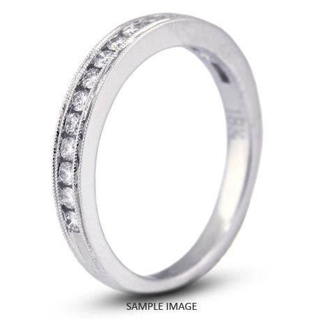 18k White Gold Nouveau Style Wedding Band with 0.36 Total Carat G-VS2 Round Diamond