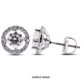 1.48 Carat tw. Round Brilliant 14k White Gold Halo Diamond Stud Earrings (E-VS2)