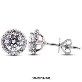 1.71 Carat tw. Round Brilliant 18k White Gold Halo Diamond Stud Earrings (E-SI2)