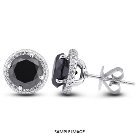 1.57 Carat tw. Round Brilliant 18k White Gold Halo Diamond Stud Earrings (Black-)