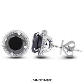 4.08 Carat tw. Round Brilliant 18k White Gold Halo Diamond Stud Earrings (Black-)