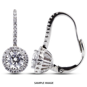 1.59 Carat tw. Round Brilliant 18k White Gold Drop Diamond Earrings with Halo (D-VS2)