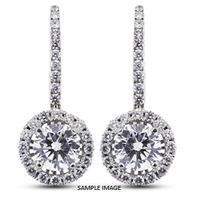 1 96 Carat Tw Round Brilliant 18k White Gold Drop Diamond Earrings With Halo F Si2 From Traces