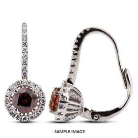 1.63 Carat tw. Round Brilliant 18k White Gold Drop Diamond Earrings with Halo (Red-VS2)