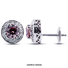 1.52 Carat tw. Round Brilliant 14k White Gold Vintage style Halo Diamond Stud Earrings (Pink-VS2)