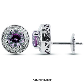 1.30 Carat tw. Round Brilliant 14k White Gold Vintage style Halo Diamond Stud Earrings (Purple-VS1)