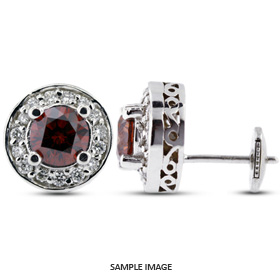 1.73 Carat tw. Round Brilliant 14k White Gold Vintage style Halo Diamond Stud Earrings (Red-VS2)