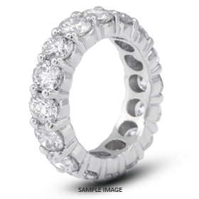 14k White Gold Classic Style Eternity Ring with 4.50 Total Carat H-SI2 Round Diamond