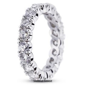 14k White Gold Classic Style Eternity Ring with 3.20 Total Carat F-VS2 Round Diamond