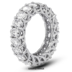 14k White Gold Trellis Style Eternity Ring with 5.60 Total Carat G-SI1 Round Diamond