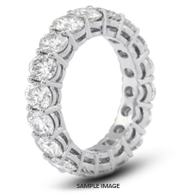 14k White Gold Basket Style Eternity Ring with 1.25 Total Carat H-SI2 Round Diamond