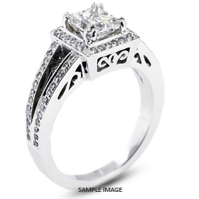 18k White Gold Vintage Style Semi-Mount Engagement Ring with Halo with Diamonds (0.52ct. tw.)