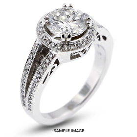 14k White Gold Vintage Style Engagement Ring with Halo with 2.09 Total Carat G-SI1 Round Diamond