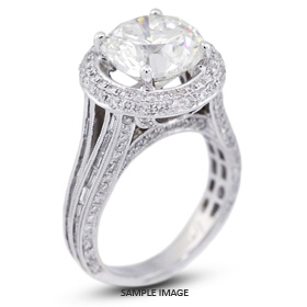 18k White Gold Split Shank Engagement Ring with 7.96 Total Carat G-I1 Round Diamond