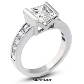 14k White Gold Accents Engagement Ring with 3.28 Total Carat H-SI2 Square Radiant Diamond