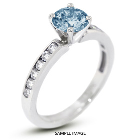 14k White Gold Accents Engagement Ring with 1.16 Total Carat Blue-SI3 Round Diamond