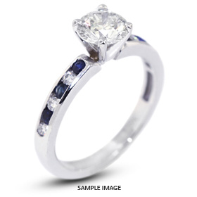 14k White Gold Accents Engagement Ring with 0.93 Total Carat H-SI2 Round Diamond