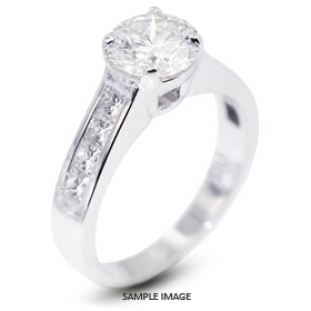 14k White Gold Accents Engagement Ring with 2.78 Total Carat J-SI1 Round Diamond