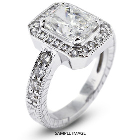 14k White Gold Vintage Style Semi-Mount Engagement Ring with Halo with  Diamonds (0.65