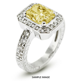 14k White Gold Vintage Style Engagement Ring with Halo with 2.69 Total Carat Yellow-VS2 Rectangular Radiant Diamond