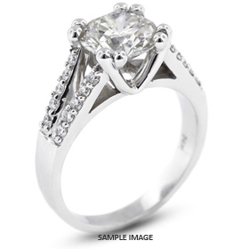 14k White Gold Split Shank Engagement Ring with 1.00 Total Carat I-I1 Round Diamond