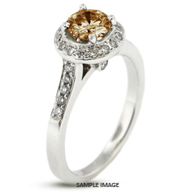14k White Gold Accents Engagement Ring with 2.71 Total Carat Brown-SI2 Round Diamond