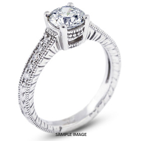 14k White Gold Engagement Ring with Milgrains with 3.30 Total Carat I-SI2 Round Diamond