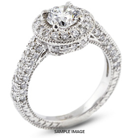 14k White Gold Vintage Style Engagement Ring with Halo with 1.73 Total Carat G-SI3 Round Diamond