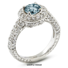 14k White Gold Vintage Style Engagement Ring with Halo with 3.40 Total Carat Blue-SI2 Round Diamond