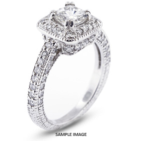 14k White Gold Vintage Style Engagement Ring with Halo with 3.01 Total Carat F-SI1 Princess Diamond