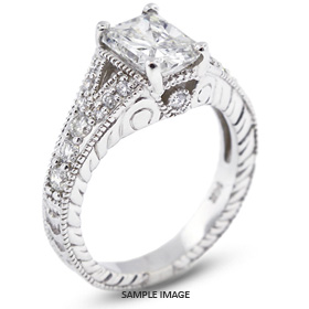 14k White Gold Split Shank Semi-Mount Engagement Ring with Diamonds (0.59ct. tw.)