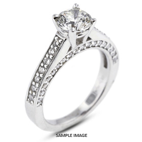14k White Gold Accents Engagement Ring with 2.29 Total Carat I-SI3 Round Diamond