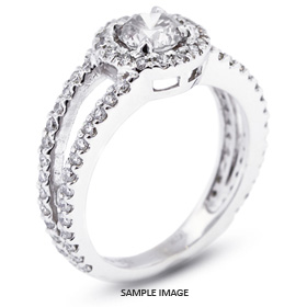 14k White Gold Split Shank Engagement Ring with 1.41 Total Carat F-I1 Round Diamond