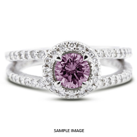 14k white gold split shank engagement ring with 149 total carat purple si1 round diamond from diamond traces - Purple Wedding Rings