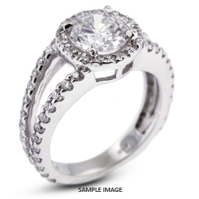 14k White Gold Split Shank Engagement Ring with 3.02 Total Carat F-VS2 Round Diamond