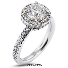 14k White Gold Accents Engagement Ring with 3.04 Total Carat G-VS1 Round Diamond