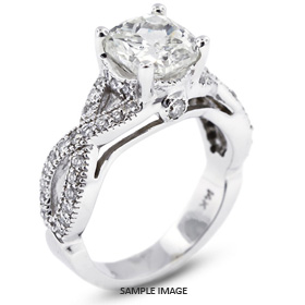 14k White Gold Split Twist Shank Engagement Ring with 2.91 Total Carat D-VS2 Square Cushion Diamond
