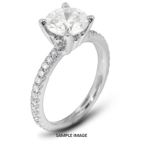 14k White Gold Accents Engagement Ring with 0.94 Total Carat I-I1 Round Diamond