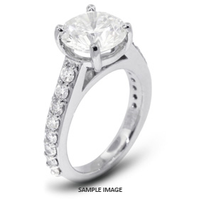 14k White Gold Accents Engagement Ring with 3.00 Total Carat D-SI1 Round Diamond